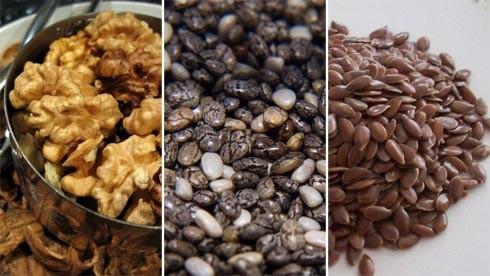 זרעי פשתן, זרעי צ'יה ואגוזי מלך. מקורות צמחיים מומלצים לאומגה 3.