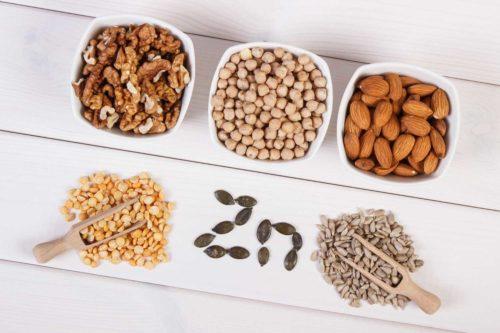 אבץ - אגוזים זרעים וקטניות